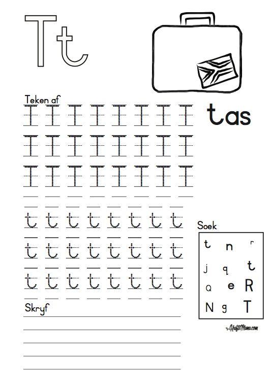 KraftiMama, Free Printables, Afrikaans Alfabet, T vir Tas