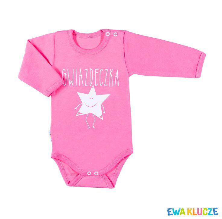EWA KLUCZE, kolekcja ANDRUS, body z długim rękawem różowe, ubranka dla dzieci, EWA KLUCZE, ANDRUS collection, pink long sleeve bodysuit, spring summer 2017