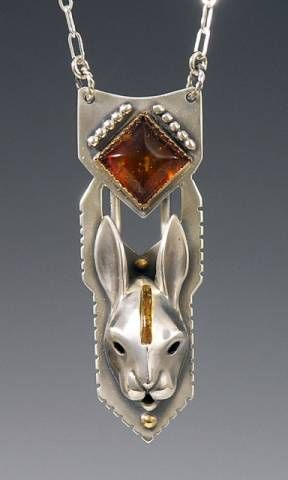 Brooke Stone handcrafted animal totem jewelry, Silver Rabbit Jewelry, Rabbit totem