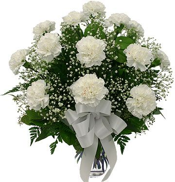 Vase Of White Carnations And Those Tiny Flowers Wver They Are Called