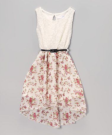 Loving this Ivory & Coral Floral Lace Belted Hi-Low Dress on #zulily! #zulilyfinds