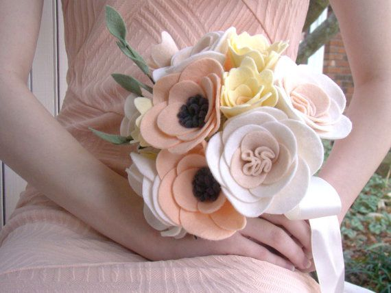Felt Bride Bouquet Wedding Bride's Flowers Felt by TwiningVines