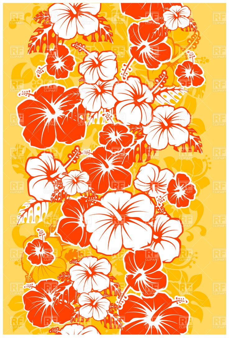 Hibiscus flower clipart image hibiscus flower - Hibiscus Flower Clip Art Hawaiian Floral Seamless