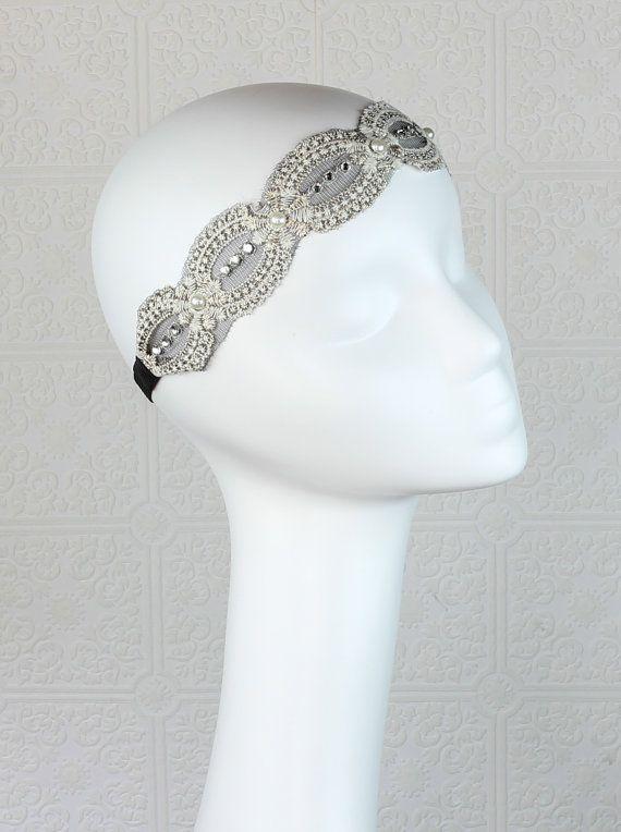 Great Gatsby Headband  Bridal Headband  Lace by BlackLlamaStudio, $20.00