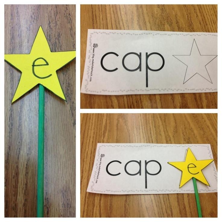 Teaching long vowels with magic E wands. Idea from http://blog.maketaketeach.com/diy-magic-e-wands/
