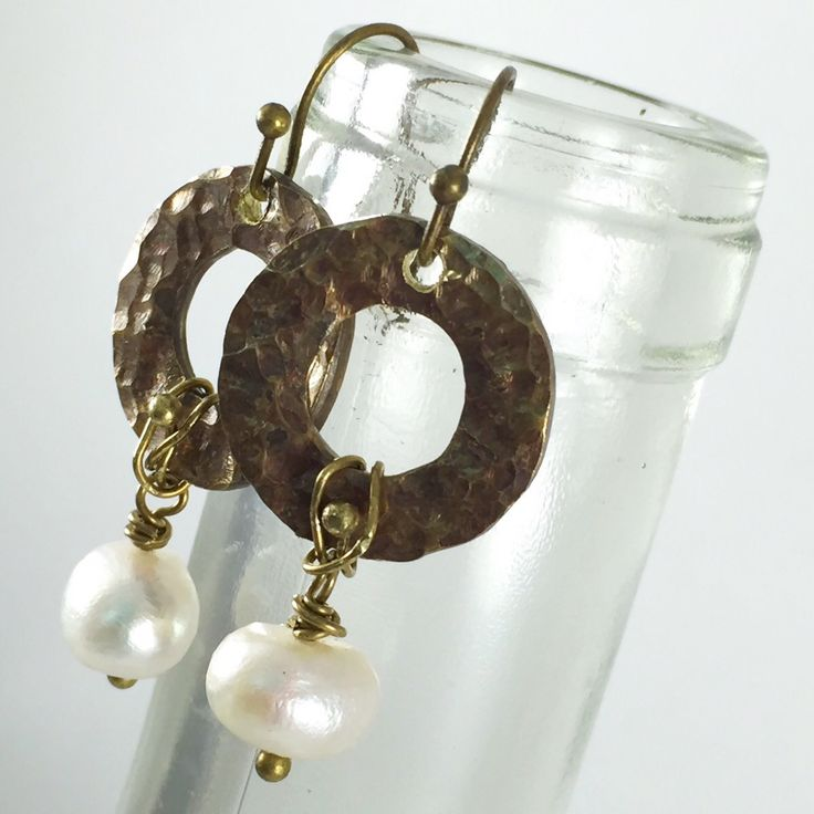 Beach Wedding Boho Indie Style Earrings Freshwater Pearl Antique Gold Brass Gypsy Style Jewelry Mixed Metal Vintage Dangle Style Earrings by kyleemaedesigns on Etsy