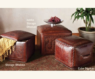 "Made of fine saddle leather, our sumptuous full-grain ottomans show incredible hand-tooled details and whipstitching along their edges. Using Old-World techniques passed down through the generations, artisans in Peru handcraft each piece over a spun cotton center form. Handmade in Peru.    Cube Ottoman, 17"" sq., 15"" h.  Storage Ottoman, 19"" sq., 15"" h.  Jumbo Storage Ottoman, 24"" sq., 19"" h."