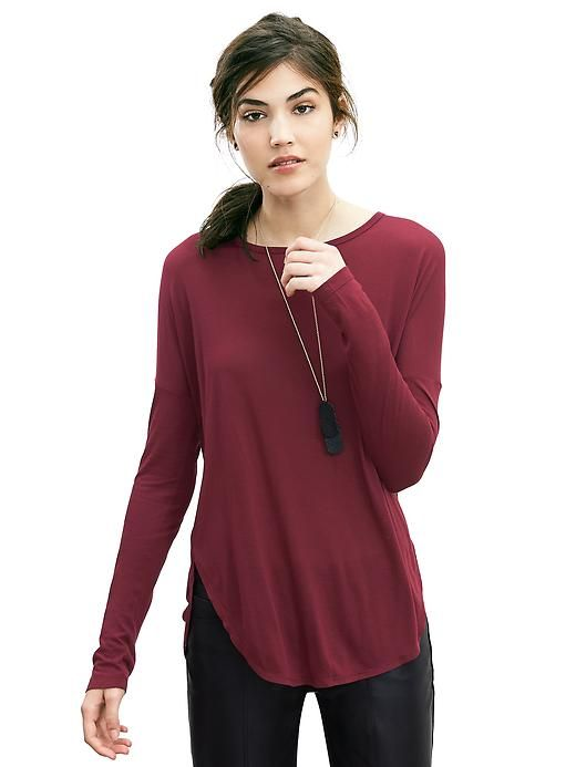 Dolman Sleeve Shirttail Tee Fall Style Tunic Tops