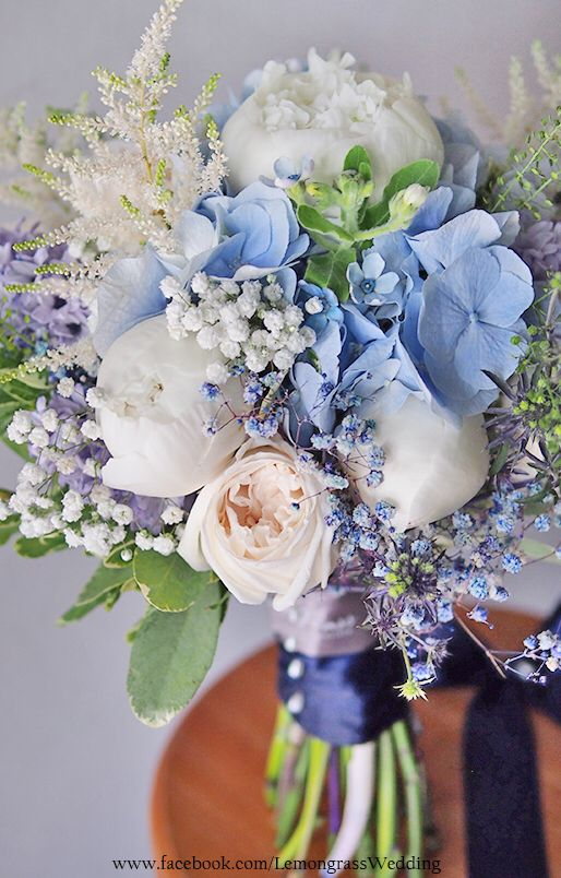 Blue, Cream & White Bouquet