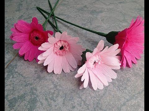 Gerbera paper flower - Làm hoa đồng tiền giấy nhún - YouTube