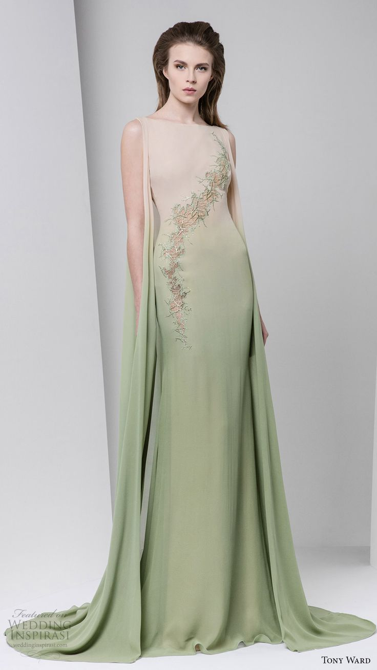 tony ward fall winter 2016 2017 rtw sleeveless bateau neck ombre mint green evening gown
