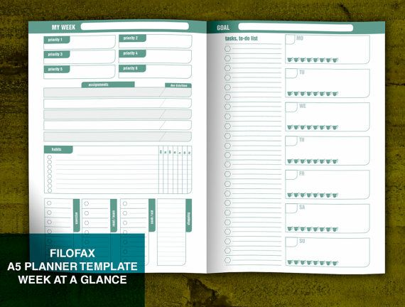 A5 Filofax Size Week at a Glance Notebook Printable Template Habit Tracker Priority Planner Week on 2 Pages Fauxdori