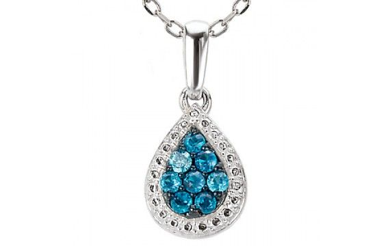 14KW ENHANCED BLUE DIA PENDANTW/BAIL, D1/6CT, MATCH 121375