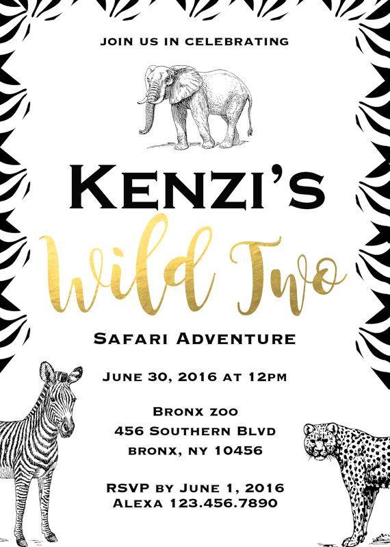 Printable-Birthday-Invitation-Party-Fiesta-Safari-Black and White-Gold Foil-Elephant-Zebra-Wild-Custom-Digital-Boy-Girl-
