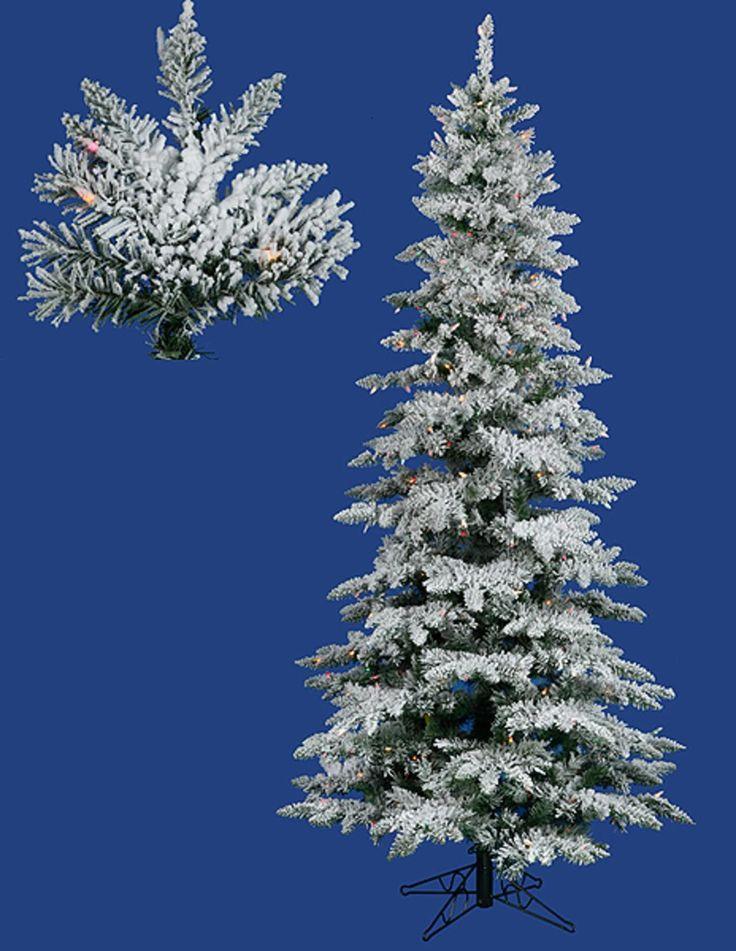 10' Pre-Lit Flocked Layered Utica Fir Slim Artificial Christmas Tree - Multi