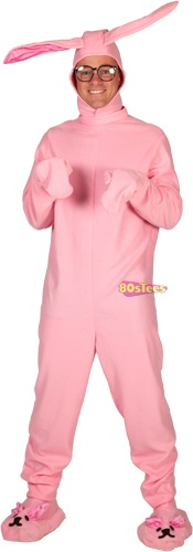 Sure, Ralphie may think it's a pink nightmare, but you're sure to be the hit of any Christmas party in this Christmas Story Bunny Suit Costume.  And if you happen to receive a Red Ryder bb gun for Christmas, please promise that you won't shoot your eye out...