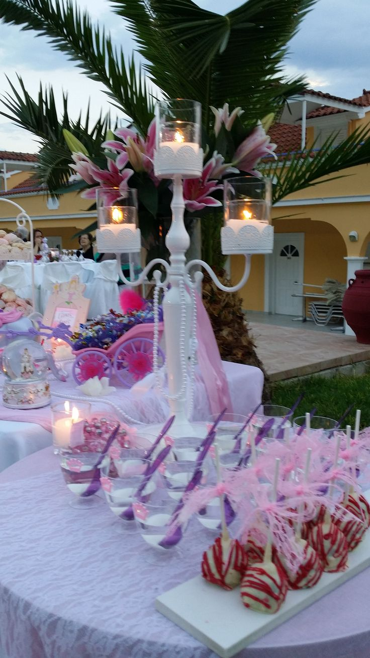τραπεζι ευχων βαπτισης κοριτσι Baptism wishes table in Lefkada Greece pink and purple theme
