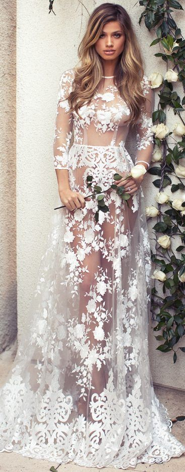 White Lace Cover- up Maxi Dress