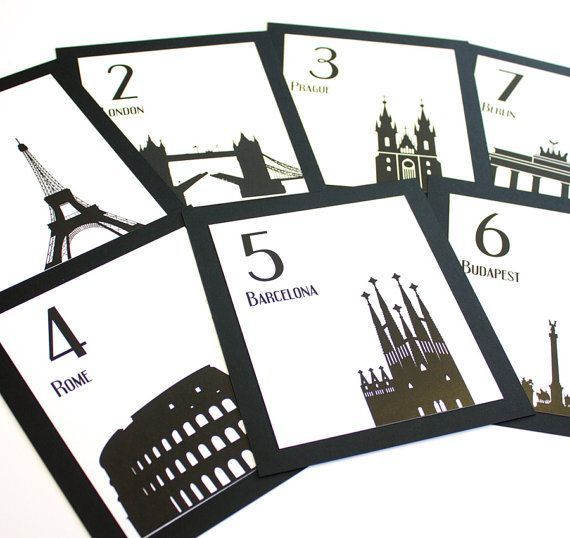 Major travel landmarks as destination wedding table cards - how cute and festive! You won't want to miss the rest of this inspiring list!