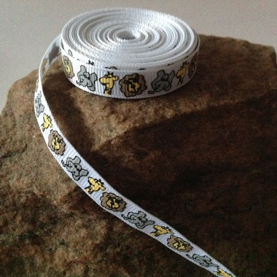 """5 Yards of 3/8"""" Grosgrain Ribbon, White with Zoo Animal Pattern $4.50"""