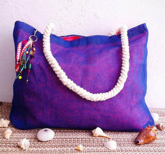 Nautical tote bag / jute purse w/ ribbon keychain & by LaPasoBien
