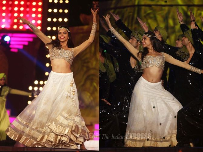 Deepika's Screen Awards performance saw her in three different lehengas with two of them being white.  Her other white lehenga, an Anita Dongre, featured a white and nude choli with sheer full-sleeves. Of all her stage looks, got a favorite?