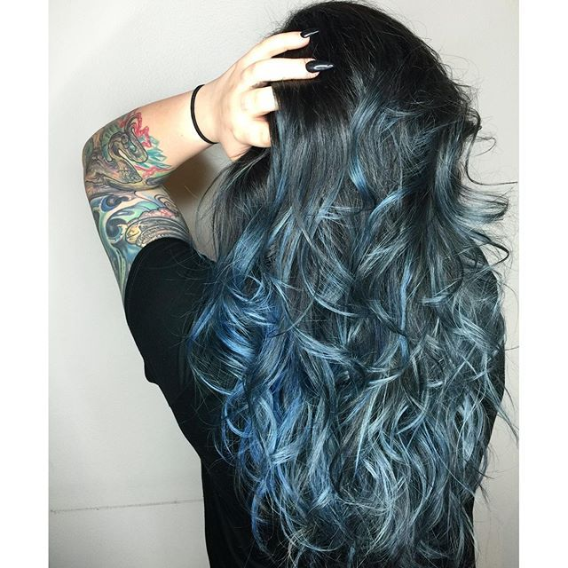 This blue ombre by stylist Demi shows off shades of steel grey, sapphire, denim blue and pastel blue. We're in love. #AvedaColor Formula in comments.