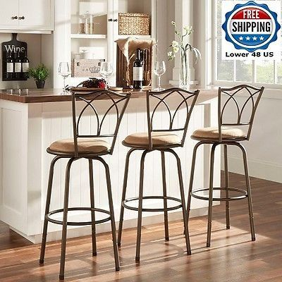 Swivel Counter Barstool 3pc CATHEDRAL Kitchen Breakfast Island Upholstered NEW