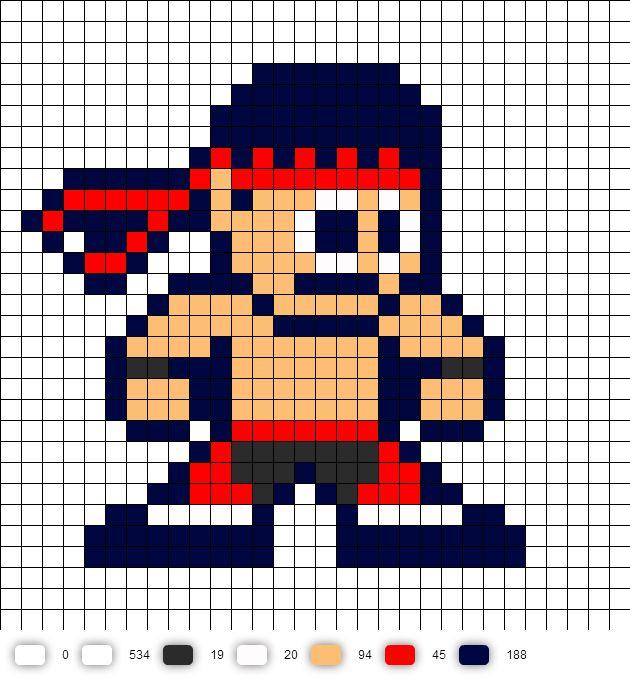 Lui Kang Mortal Kombat 2 Perler Bead Pattern MK2
