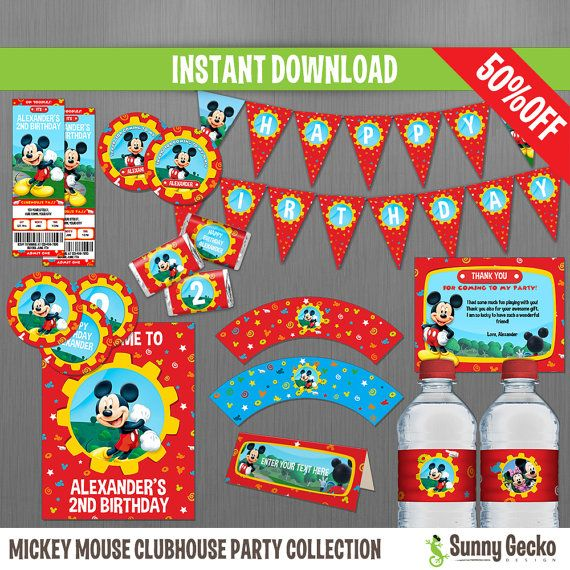 Disney Mickey Mouse Clubhouse Birthday Party Collection by SunnyGeckoDesign, $29.00