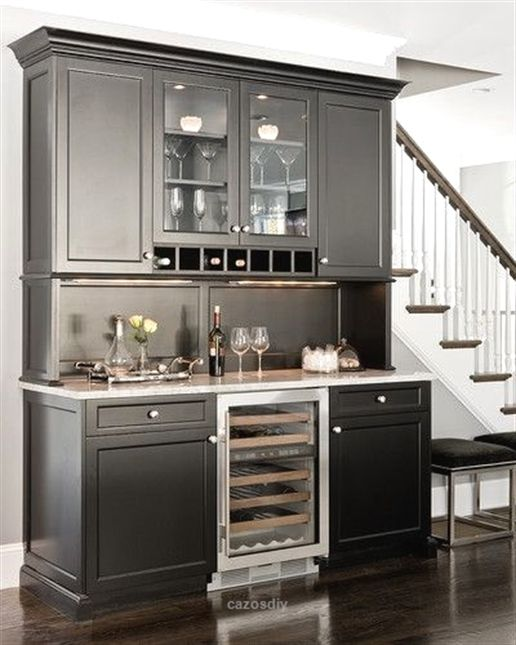 Adorable Built In Wine Refrigerator And Under Cabinet Lighting For The Ultimate Wet Bar Experience