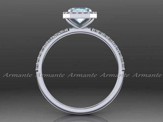 Corte de la esmeralda aguamarina anillo de compromiso