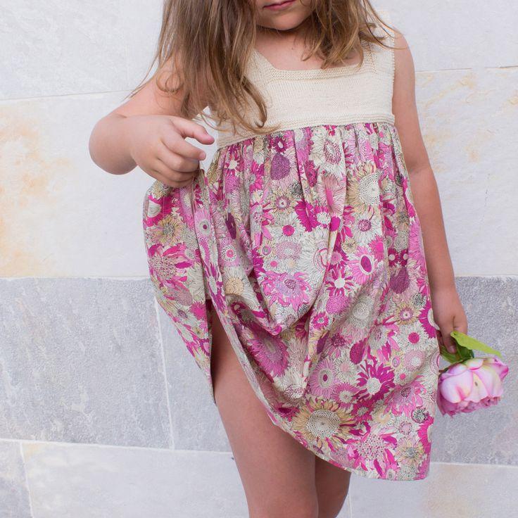 Tela patchwork para vestido de niña