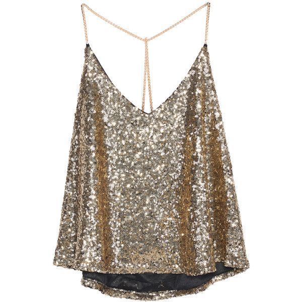 Gold Criss Cross Sequined Cami Top (£9.42) ❤ liked on Polyvore featuring tops, shirts, blusas, tanks, gold, gold sequin tank, sequin shirt, camisoles & tank tops, brown tank top and gold sequin top