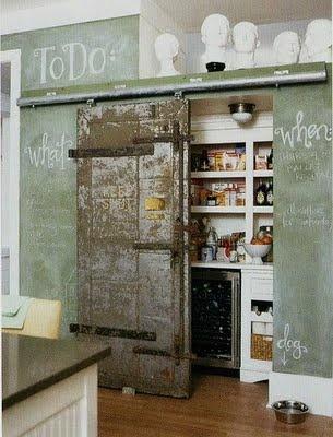 Industrial kitchen... with chalkboard paint!: Barndoor, Chalkboards, Idea, Barn Doors, Chalk Board, Kitchen