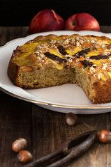 cake with peach and hazelnut grain