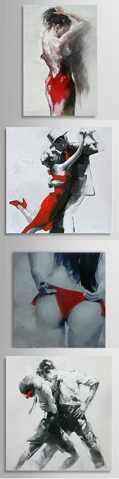So much expression in these black & white & red oil paintings! They will look great both separately and together. Click on the picture to see more!