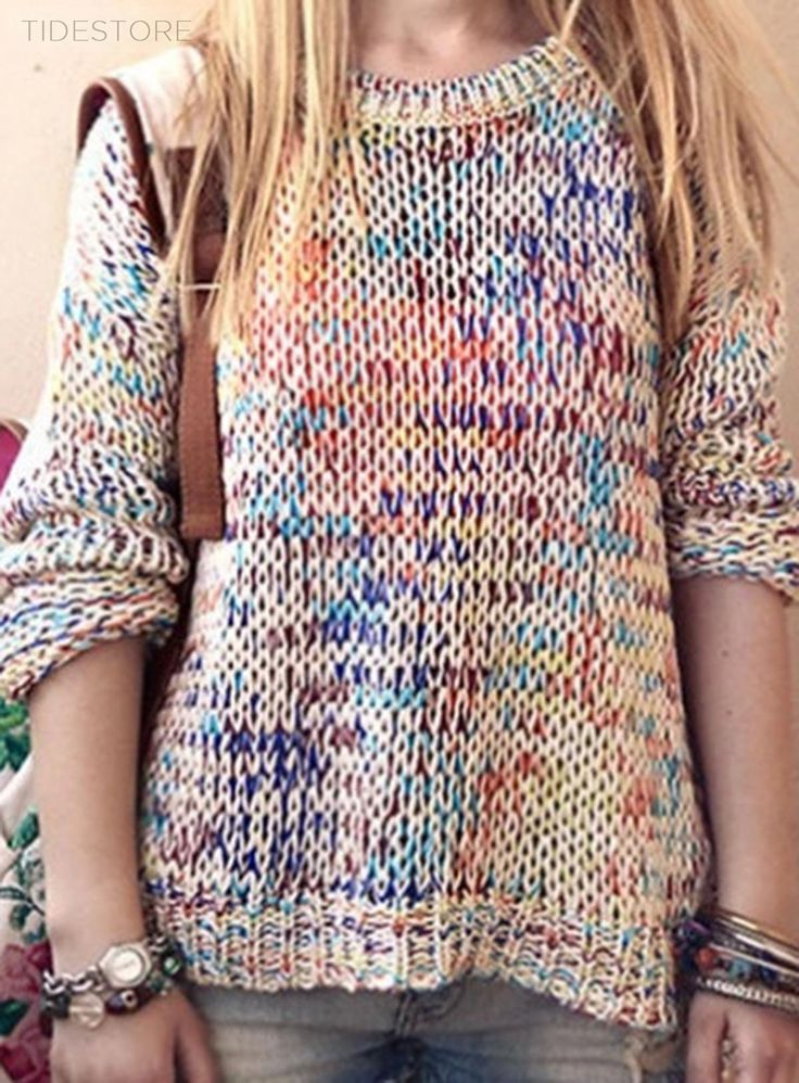 Stunning Rainbow Color Round Neck Sweater, Fashion Clothing Online