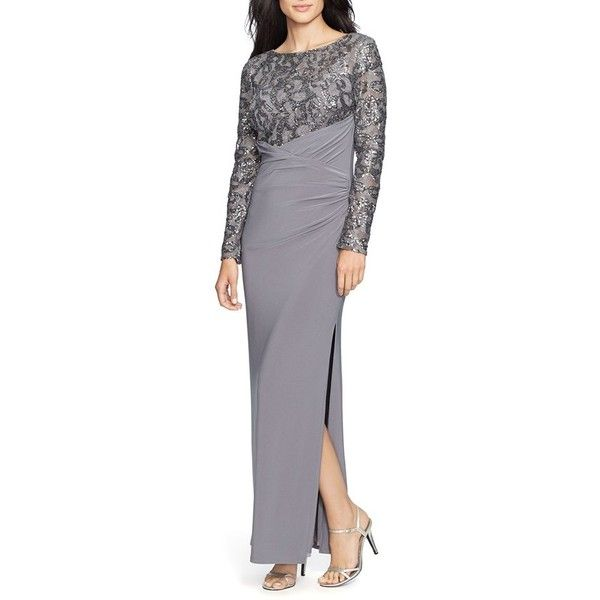 Lauren Ralph Lauren Sequin Jersey Faux Wrap Gown ($264) ❤ liked on Polyvore featuring dresses, gowns, enchanted grey, petite, long sleeve evening gowns, petite evening dresses, long sequin gown, long sleeve sequin dress and petite evening gowns