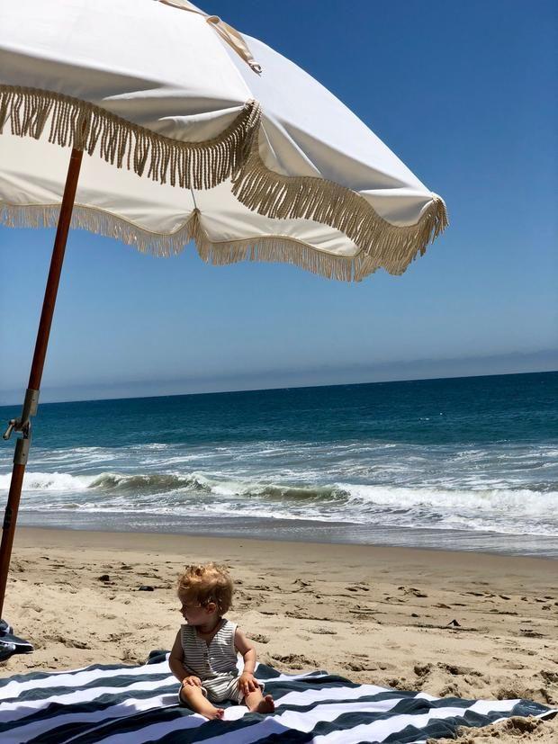 Vintage Print Premium Beach Umbrellas With Fringe Business Pleasure Co Beach Umbrella Umbrella Outdoor Umbrella