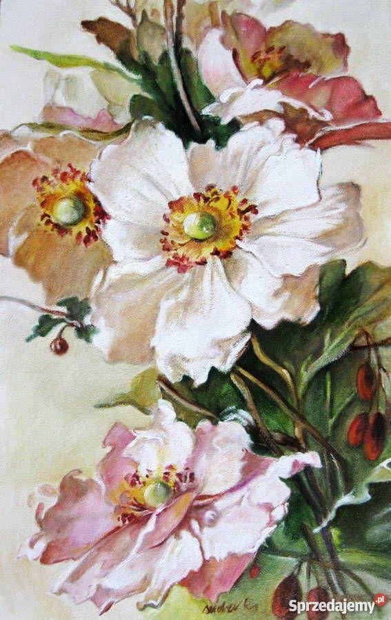 Kwiaty Anemony Obraz Olejny Recznie Malowany Sosnowiec Flower Art Painting Flower Painting Flower Art