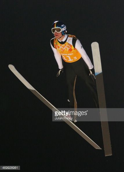 Andreas Wellinger of Germany jumps during the Men's Team Ski Jumping trial on day 10 of the Sochi 2014 Winter Olympics at the RusSki Gorki Ski...