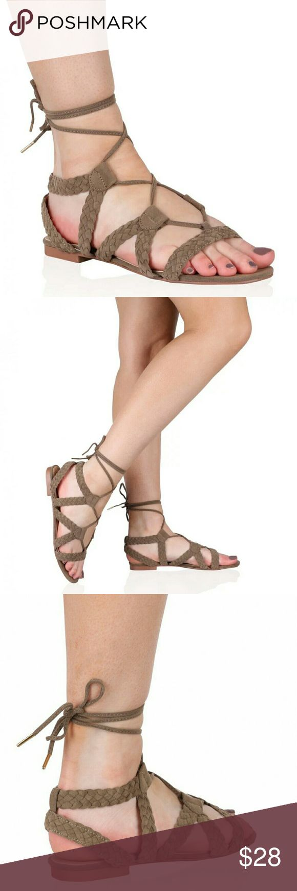 BOHO Taupe flat gladiator sandal taupe Flat gladiator lace up sandals braided taupe tan faux suede. New in box. PD Shoes
