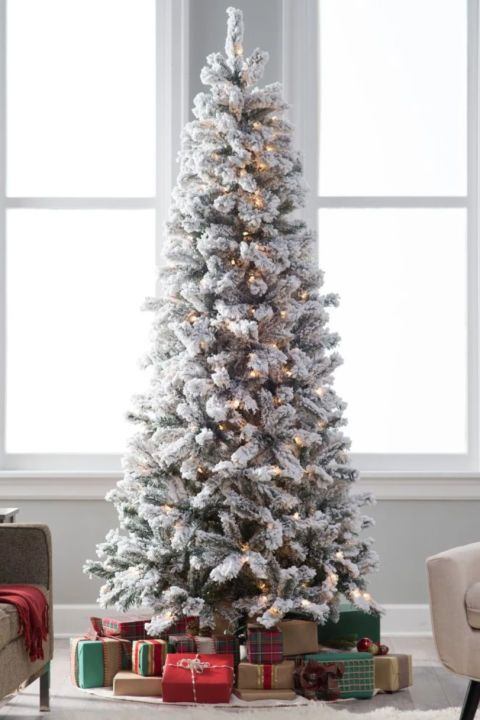$170 BUY NOW A tree with wintery flocking makes your living room feel like the inside of a snow globe. This best seller from Hayneedle comes in sizes ranging from four-to-ten-feet, so apartment dwellers and home owners alike can enjoy.