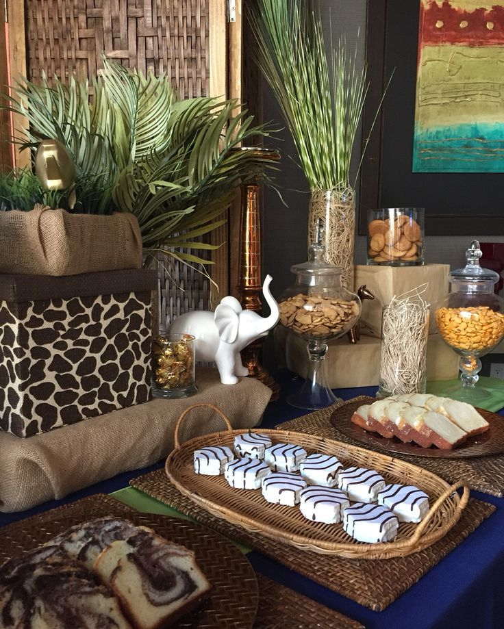 Find out about safari themed child bathe dessert desk www for Baby shower party junge
