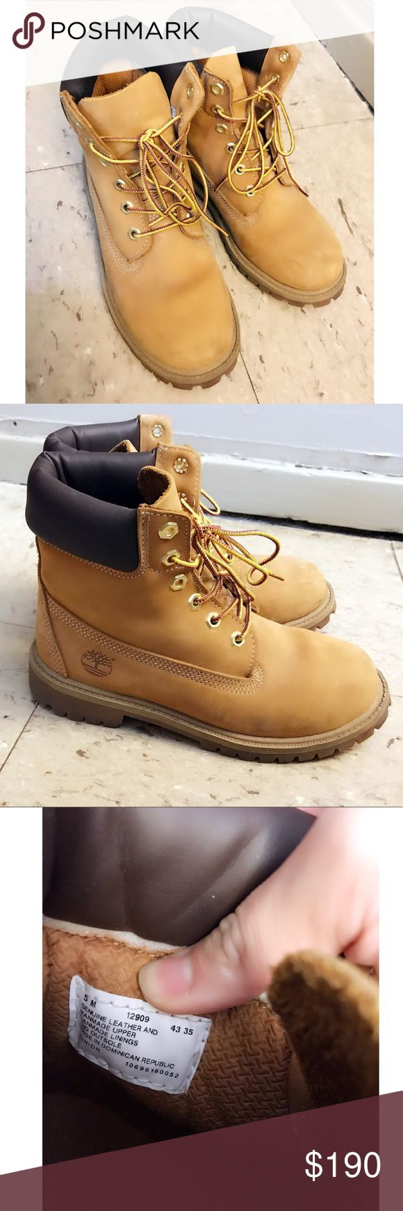 Wheatnutbuck timberland boots trade/offer accepted OPTION 1: would like to trade for the all black timberland size 5M (I think I bought kids 😅 my feet about 22cm (size 5-6.5 woman size depending on shoe brand).    OPTION 2: accepting offers ☺️ I bought these at original price $175 + tax (8.875%) = $190.55 and have only worn them like twice so no low offers please. They are in amazing condition❣️ Timberland Shoes Winter & Rain Boots