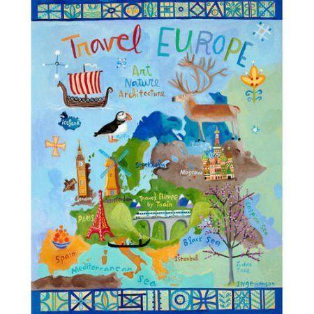 Oopsy Daisy - Travel Europe Canvas Wall Art 24x30, Donna Ingemanson