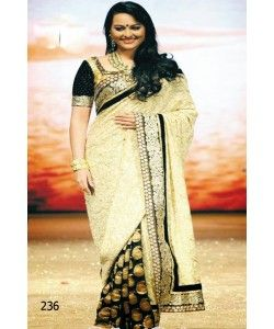 Sonakshi Sinha Black and Cream Banarasi Saree