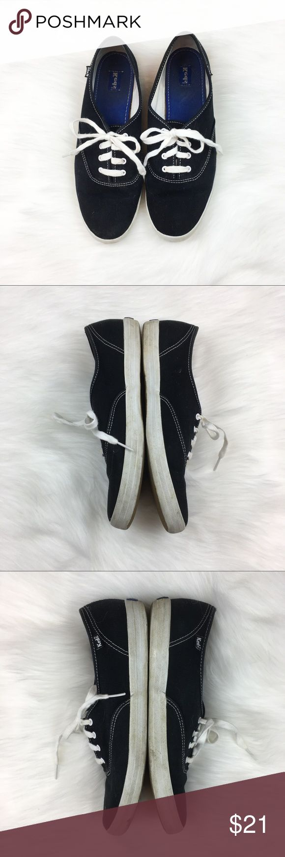 Keds Champions Originals in Black Keds Champion Originals in black. Size 10. GUC with wear. Please see photos for wear. Can be washed very easily.  No box. ❌No trades ❌ Modeling ❌No PayPal or off Posh transactions ❤️ I 💕Bundles ❤️Reasonable Offers PLEASE ❤️ Keds Shoes Sneakers