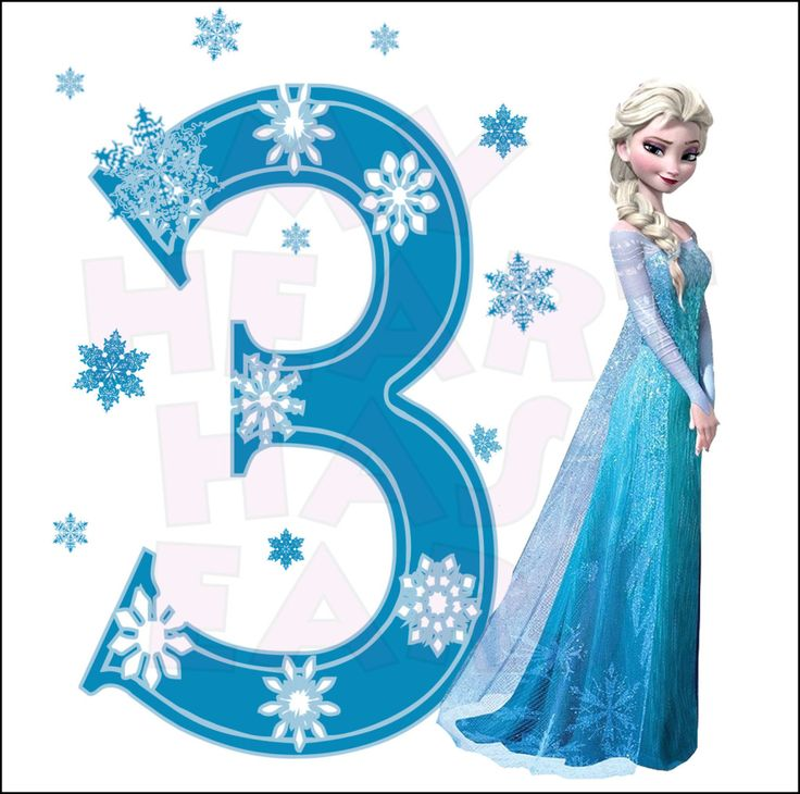 Disney's Frozen Elsa Birthday with number 3 INSTANT DOWNLOAD digital clip art :: My Heart Has Ears